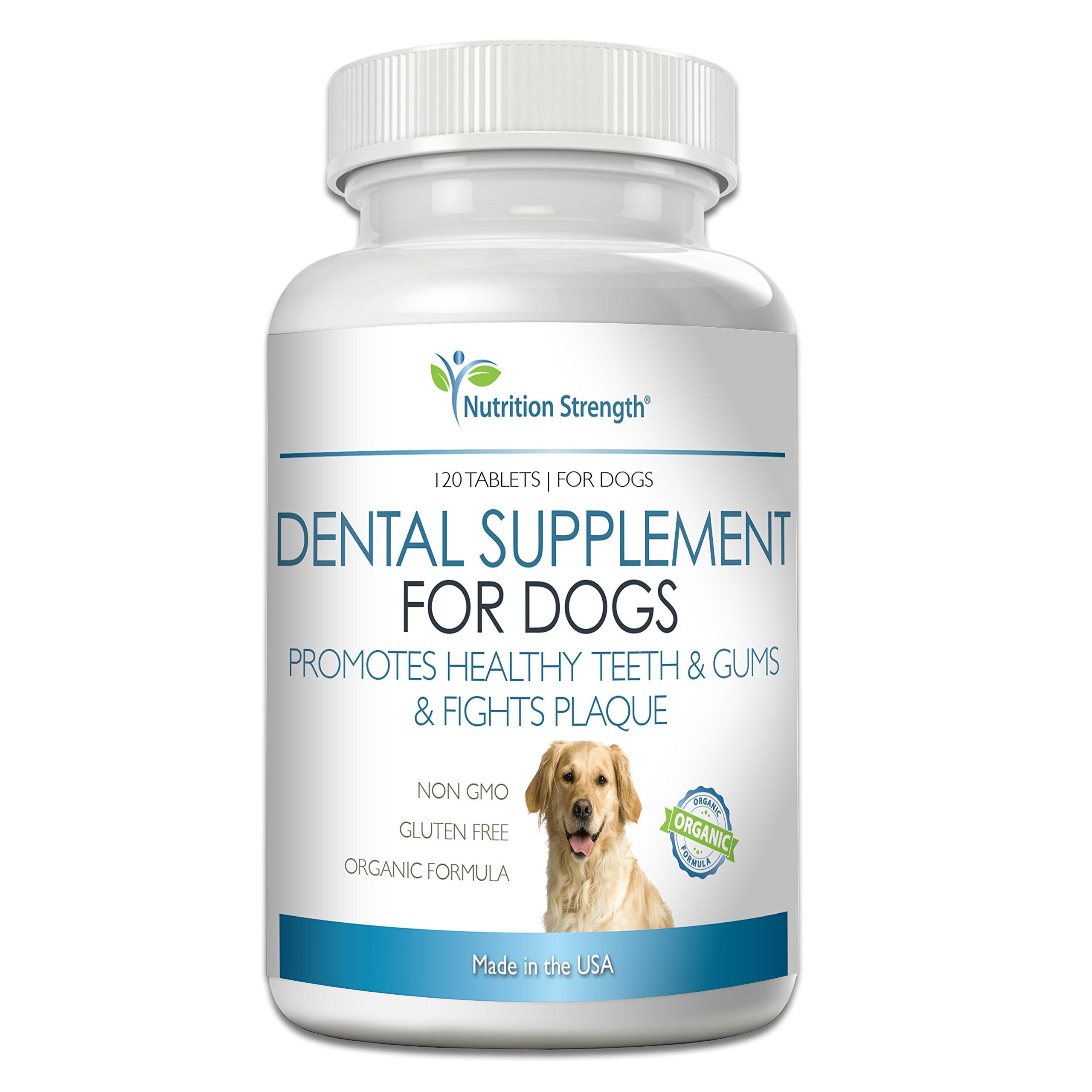 Nutrition Strength Dental Care for Dogs, Daily Supplement for Healthy Dog Gums and Teeth with All-Organic Ingredients, 120 Chewable Tablets by Nutrition Strength (Image #1)