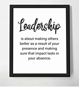 """Leadership-A Result of Your Presence"" -Motivational Quotes Wall Art-8 x 10"" Inspirational Poster Print-Ready to Frame. Modern Decor Perfect for Home-School-Office-Gym. Great Gift of Motivation!"