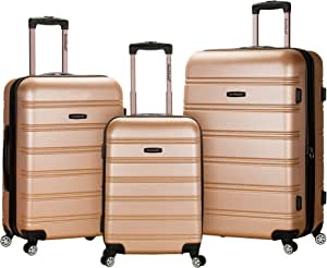 Rockland Melbourne Hardside Expandable Spinner Wheel Luggage, Champagne, 3-Piece Set (20/24/28)