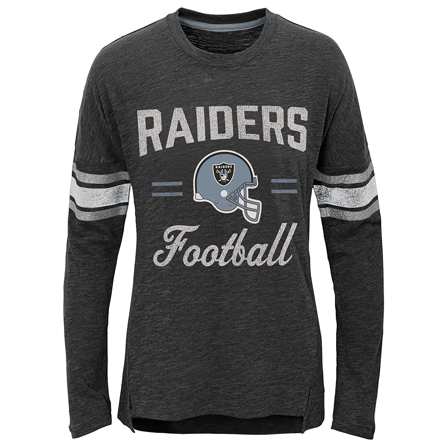 7-8 NFL Oakland Raiders Youth Boys Team Captain Long Sleeve Slub Tee Black Youth Small