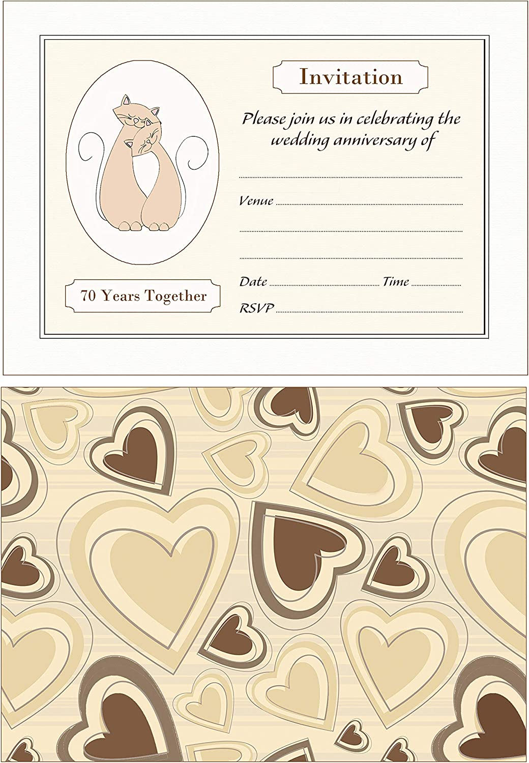 Artstore Cats 70th Wedding Anniversary Invitations With Brown Kraft Envelopes Pack of 20