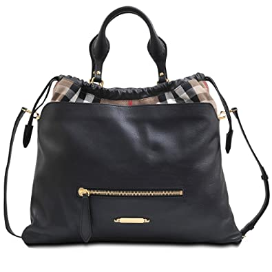 Burberry Big Crush Leather and Canvas House Check Tote - Black - Deep Claret  - Copper e9be86b1cb8a3
