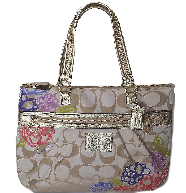 amazon com coach daisy applique multicolor tote bag purse khaki rh amazon com