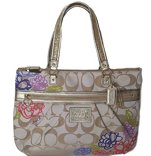 432d5264f5 Amazon.com  Coach Daisy Applique Multicolor Tote Bag Purse Khaki Sateen  20794  Shoes