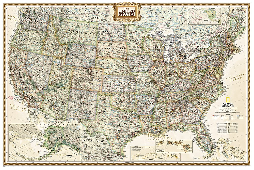 Download National Geographic: United States Executive Wall Map - Laminated (36 x 24 inches) (National Geographic Reference Map) pdf