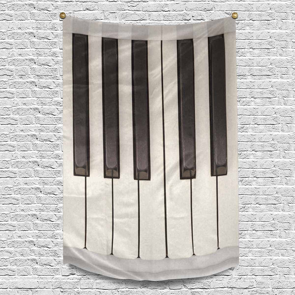 INTERESTPRINT Funny Vintage Piano Keys Keyboard Musical Theme Tapestries Home Decor, Cotton Linen Tapestry Wall Hanging Decorative Tapestry, 60W X 90L Inch