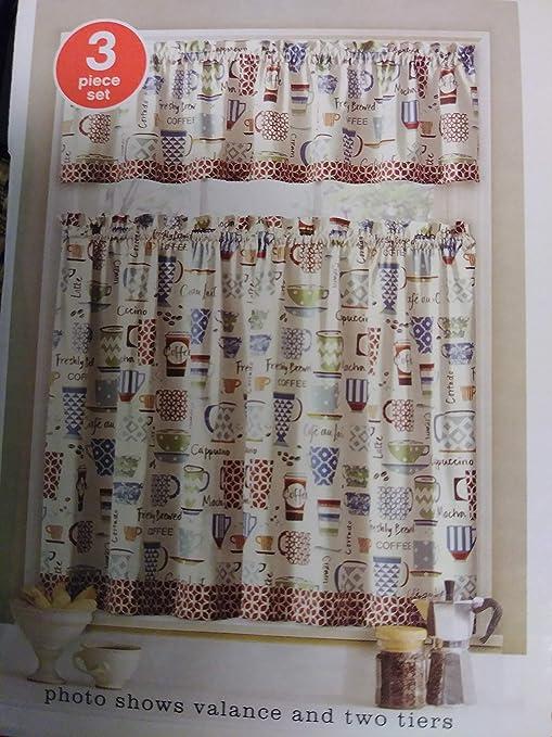 Amazon.com: Coffee Design Curtains, 3-pc Set Kitchen, Tiers ...