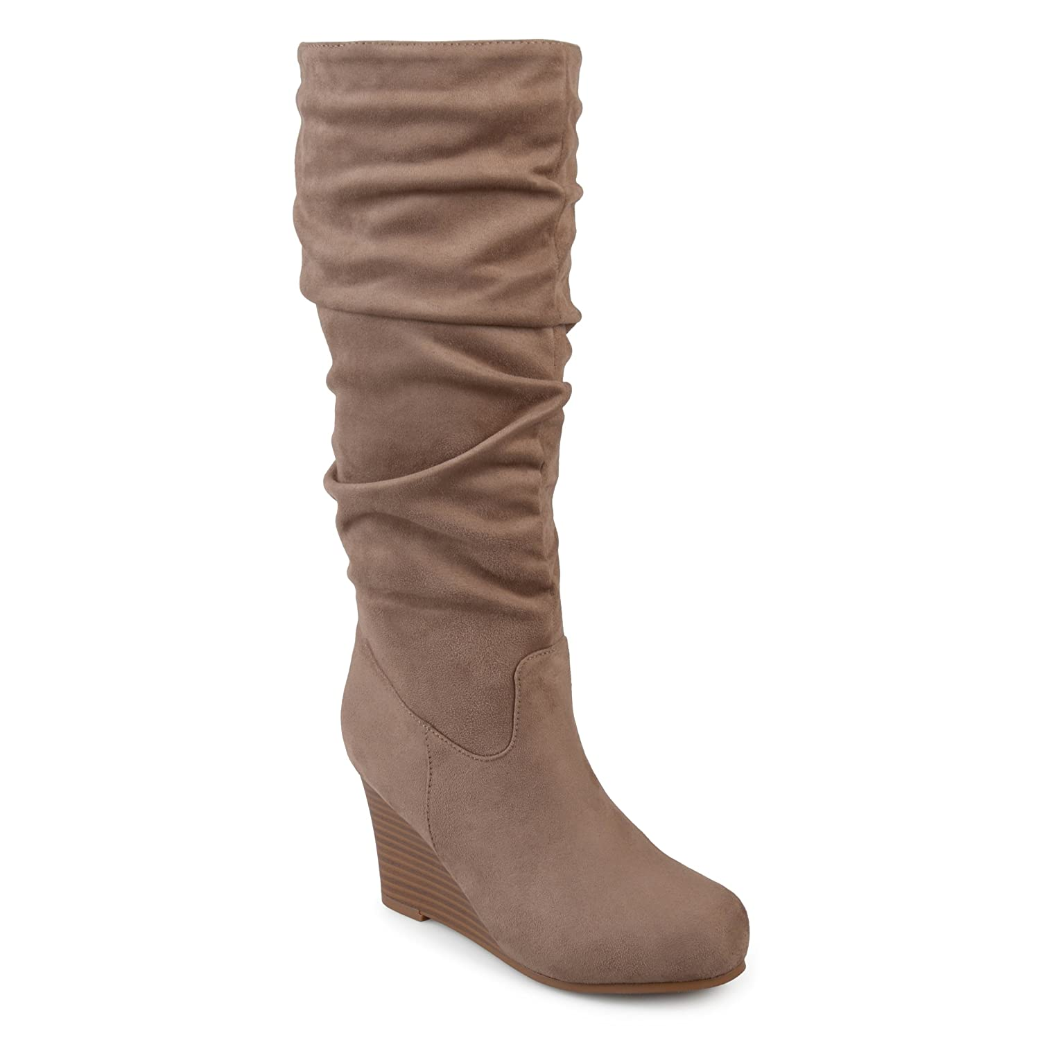 e578332bf2e Amazon.com | Journee Collection Womens Regular and Wide Calf Slouchy Mid-Calf  Wedge Boots | Mid-Calf