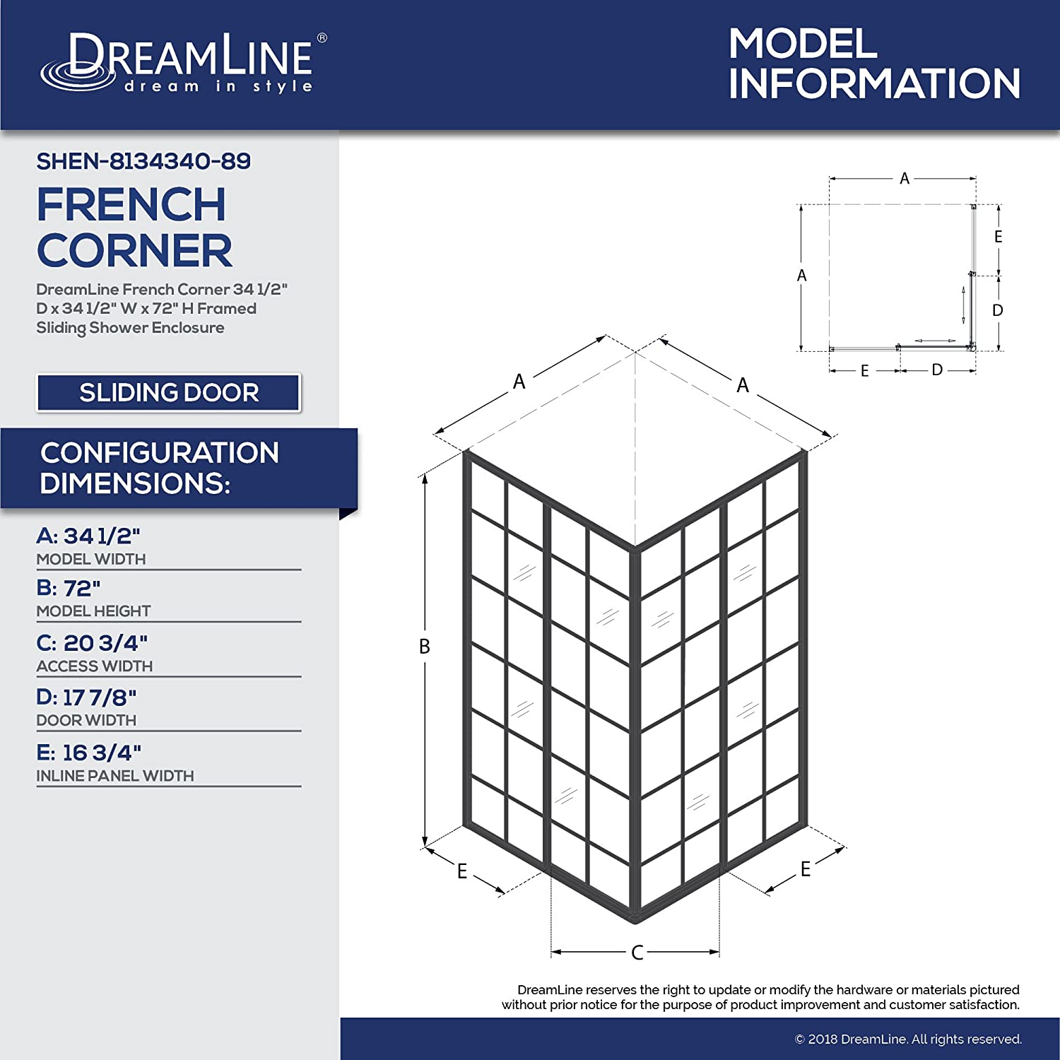 DreamLine French Corner 34 1/2 in. D x 34 1/2 in. W x 72 in. H ...