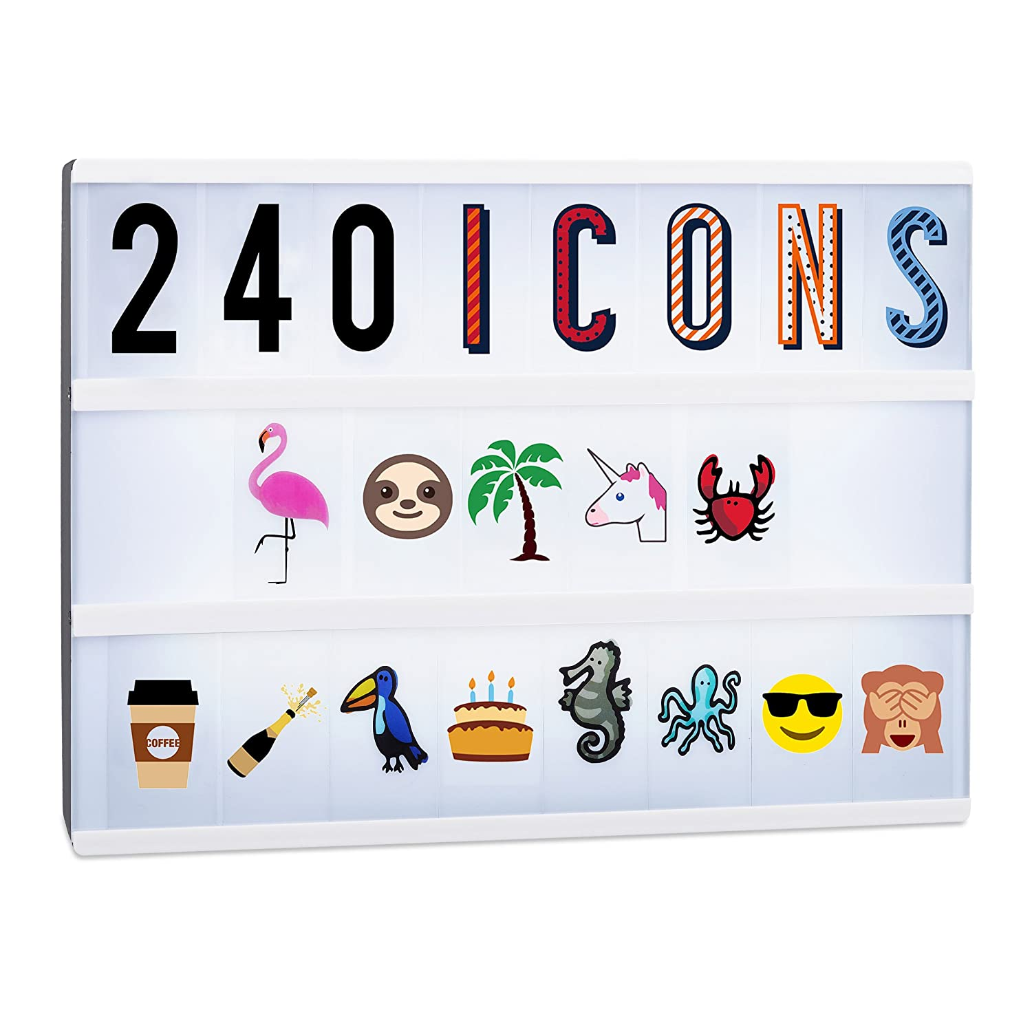 Relaxdays Lightbox Extension Set, 240 Crazy Icons, Accessory Kit with Letters and Numbers, Colourful Light Box Symbols 10022551