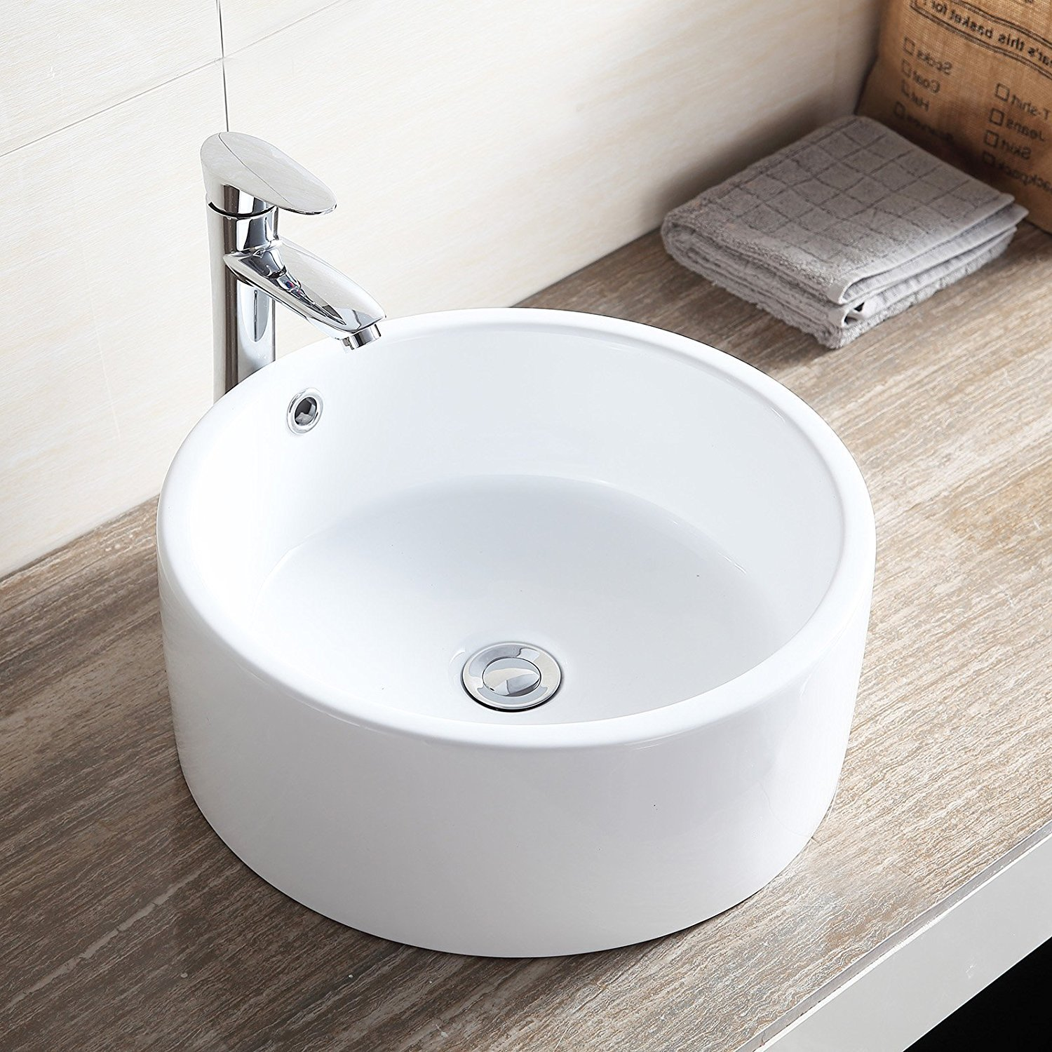 Small Round White Porcelain Ceramic Bathroom Vessel Sink Vanity Above Counter and Faucet Combo,Pop-Up Drain,Art Basin