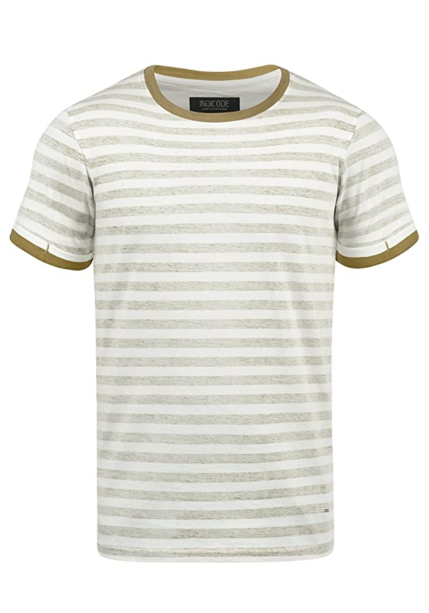 Indicode Reni Camiseta De Rayas Básica De Manga Corta para Hombre con Cuello Redondo De 100% Algodón Ugrkq