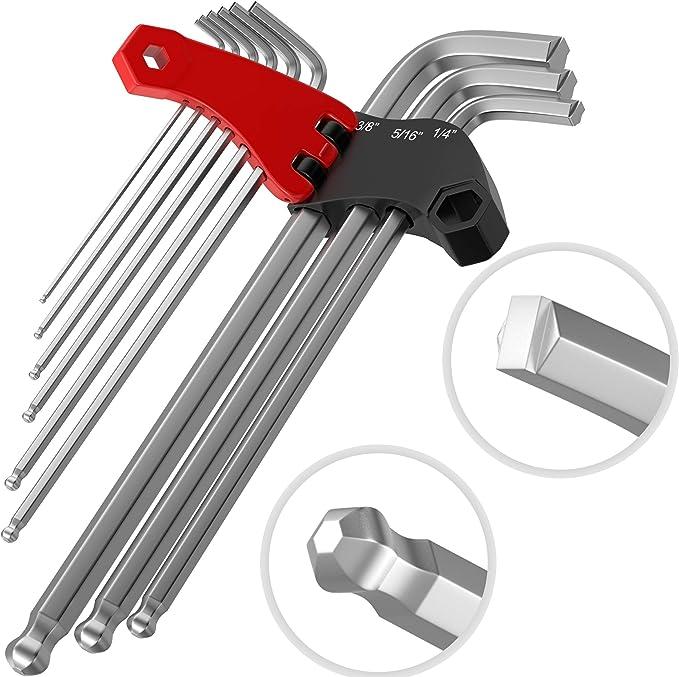 Folding Storage Case Professional Grade Hex Key Set | 9pc Allen Wrench Set SAE SAE Steel Ball End 9 Piece Kit by Olsa Tools