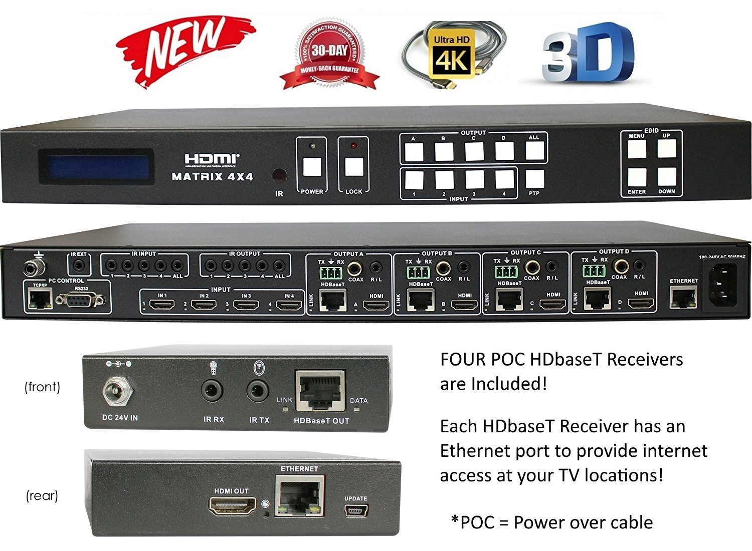 4x8 4x4 HDbaseT 4K HDMI MATRIX SWITCHER w/ FOUR ETHERNET PoC RECEIVERS (CAT5e or CAT6). HDCP2.2 HDTV ROUTING 100M SELECTOR SPDIF AUDIO CRESTRON CONTROL4 SAVANT HOME AUTOMATION INTERNET