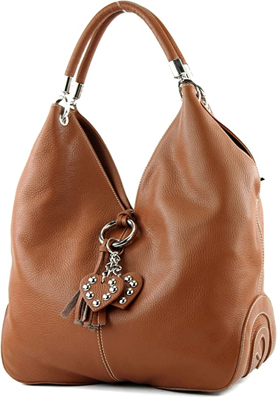 modamoda de - shopper sac à main en cuir italien sac à bandoulière 330,  Couleur:cognac