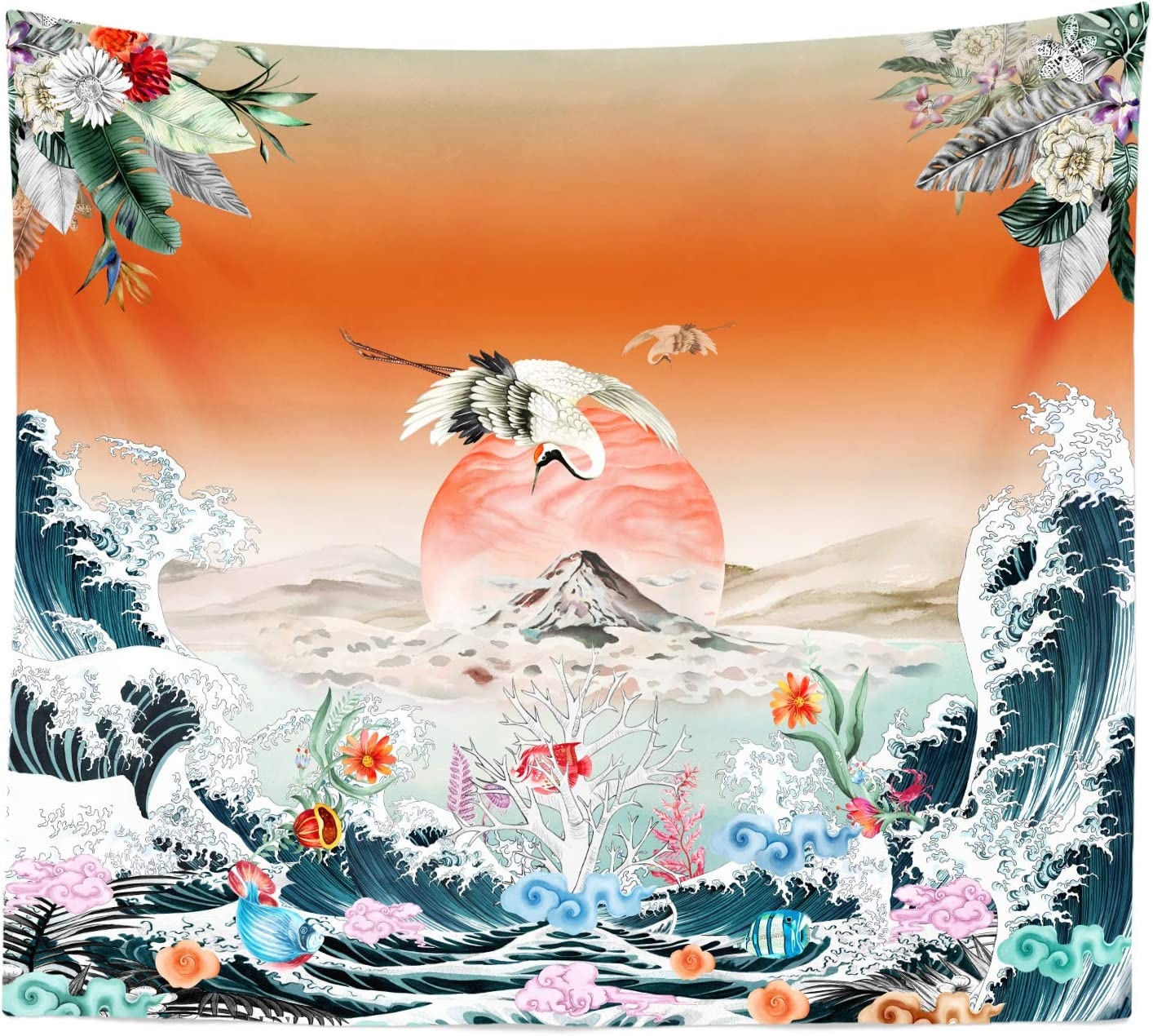 Third Goddess Wave Tapestry Floral Sunset and Moon Tapestry Ocean Wall Art Hanging Egret Fly Over Fuji Mountain Wall Tapestry for Home Dorm Decor