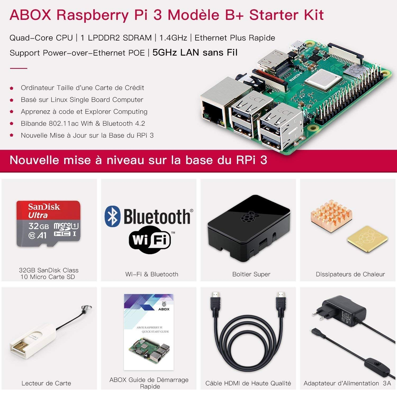 ABOX Raspberry Pi 3 Modelo B Plus (B +) Ultimate Starter Kit con Micro SD de Clase 10 Samsung EVO + 32 GB Tarjeta, 2.5 A Interruptor Encendido/Apagado ...