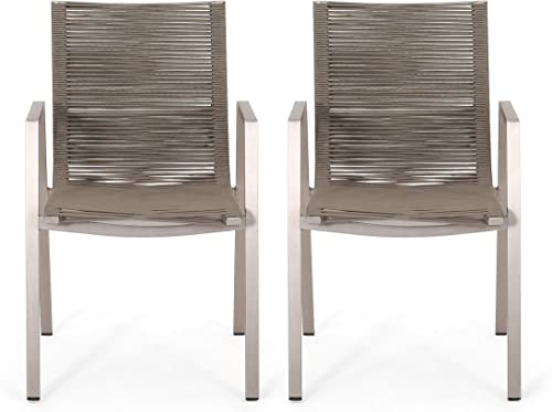 Elma Outdoor Modern Aluminum Dining Chair