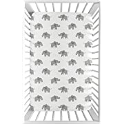 Sweet Jojo Designs Grey and White Baby Boy or Girl Unisex Fitted Mini Portable Crib Sheet for Watercolor Elephant Safari Collection - for Mini Crib or Pack and Play ONLY