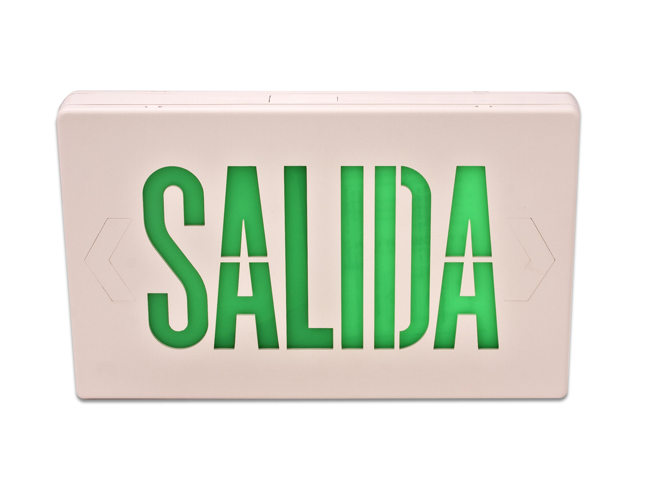 Howard Lighting HL0201B2GW-ESP Spanish Exit Sign White Case Green Letters