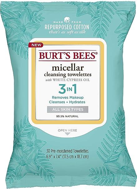 Burts Bees Micellar Toallitas de limpieza, 30 unidades