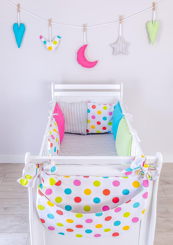 LOOLAY® 9 Tlg Set Nestchen 210 cm + Bettwäsche 100x135 + Betttasche für Babybett Bettumrandung Bettnestchen Kopfschutz TR3