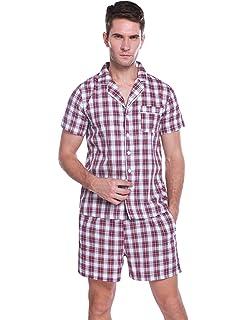 Aibrou Pijamas Hombre Verano Corto Pijama Hombre Algodon Ropa para Dormir de Manga Corta 2 Piezas Camiseta y Pantalones Cortos para Hombres: Amazon.es: Ropa y accesorios