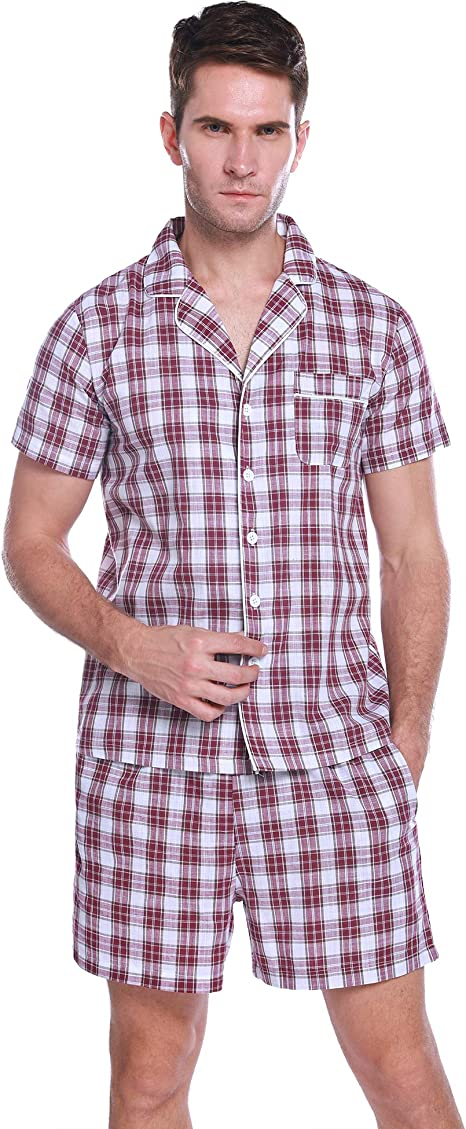 Hawiton Pijama Hombre Verano Corto Manga Corta Conjunto de Pijamas Algodón Camiseta y Pantalones Corto de a Cuadros: Amazon.es: Ropa y accesorios