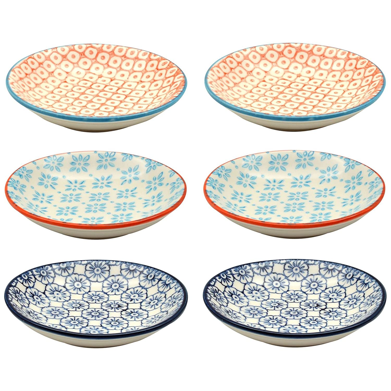 Small Patterned Rice / Soy Sauce / Olive Oil / Dipping Dish - 101mm - Set of 6 Nicola Spring