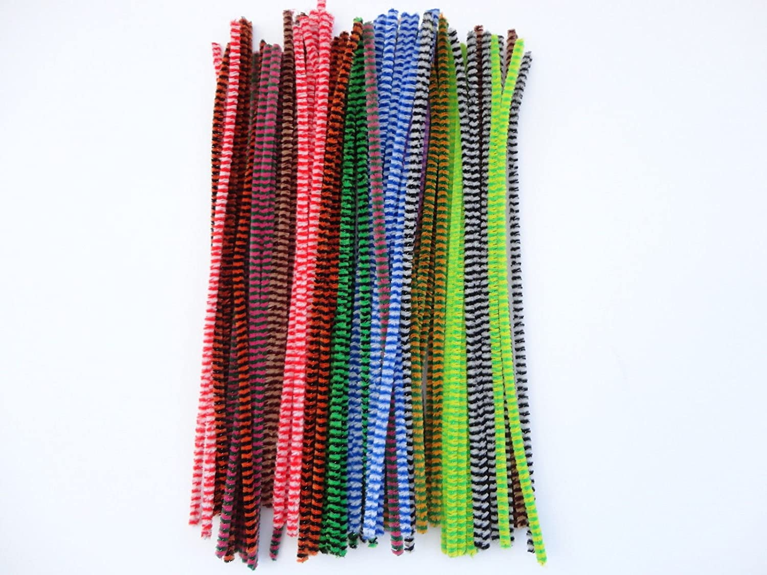 100 x Chenille Tiger Tails Stripe Craft Pipe Cleaners Stems - 12