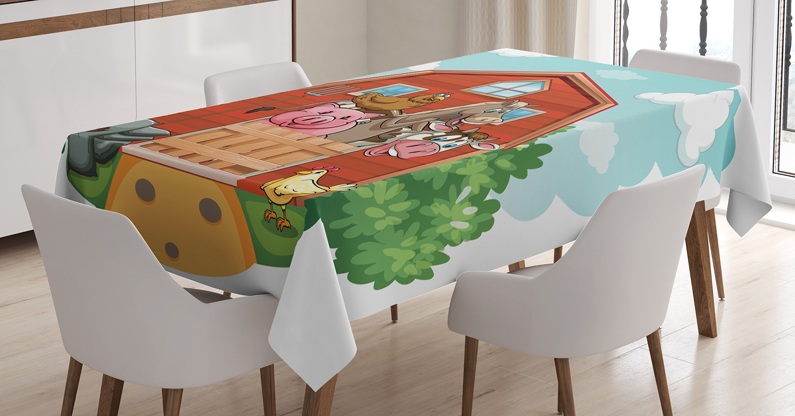Ambesonne Cartoon Tablecloth, Happy Farm Animals Living in Barnhouse Chicken Domestic Rural Artistic, Dining Room Kitchen Rectangular Table Cover, 60 W X 90 L inches, Seafoam Fern Green Rust