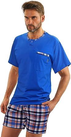 Sesto Senso Pijamas Hombre Corto Algodon Ropa De Dormir Conjunto Camisa Manga Corta Pantalon Cortos