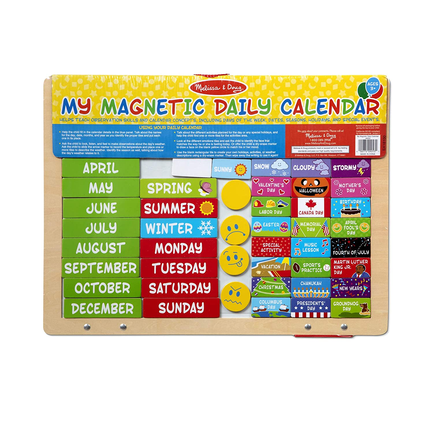 Daily Magnetic Calendar, Fabric-Hinged Dry-Erase Boards, 12 H x 15.75 W x 1 L Seasonal /& Religious Melissa /& Doug My Magnetic Daily Calendar