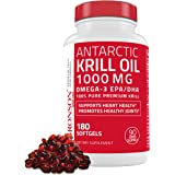 Bronson Antarctic Krill Oil 1000 mg with Omega-3s EPA, DHA and Astaxanthin, Heavy Metal Tested, 180 Softgels (90 Servings)