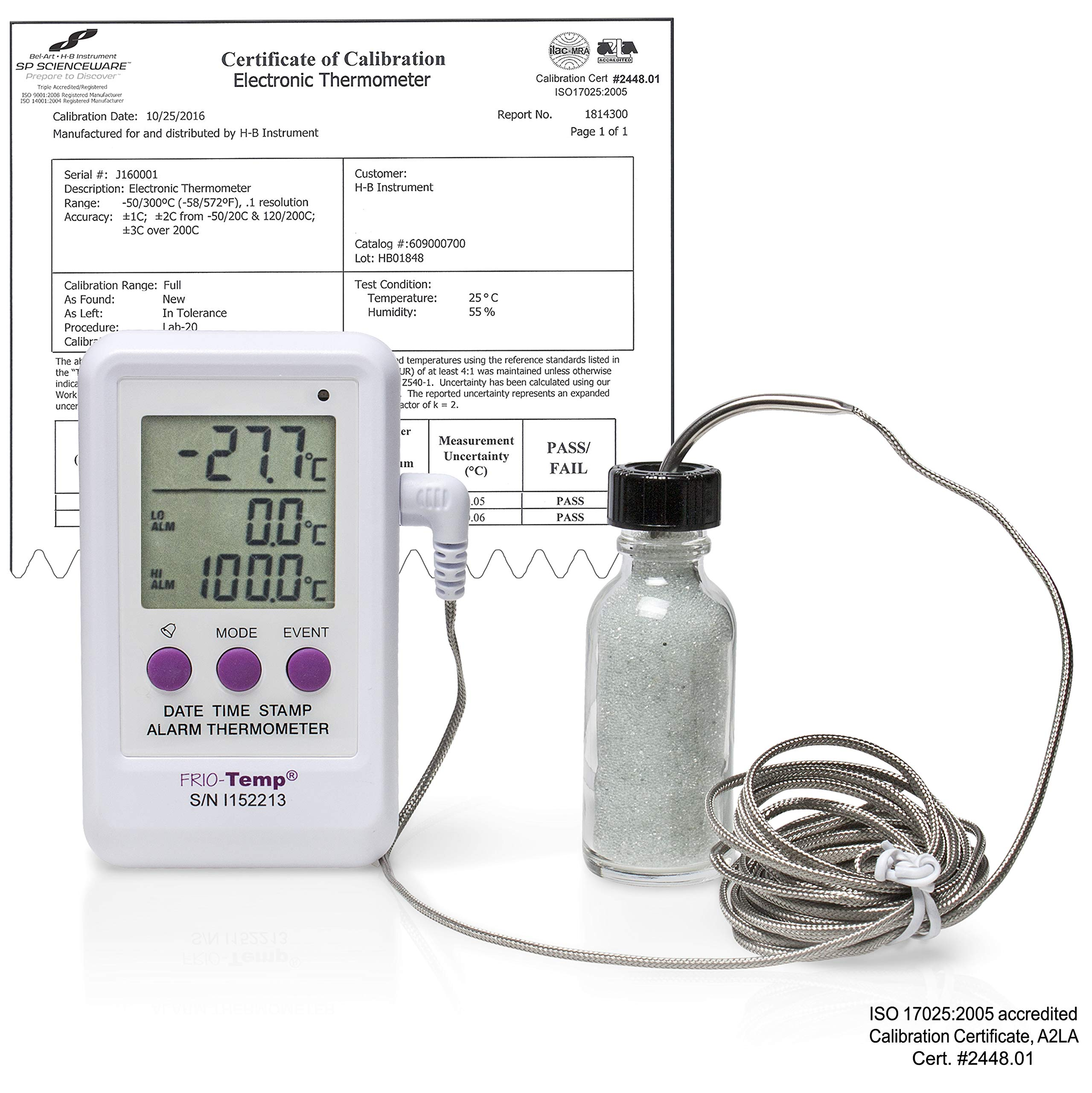 H-B Frio Temp B61000-5000 Calibrated Electronic Verification Thermometer for Freezers, Refrigerators, Incubators and Ovens; -50/200C (-58/392F)