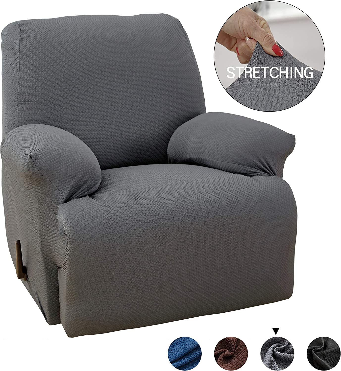 MarCielo One Piece Stretch Recliner Slipcover Stretch Fit Furniture Chair Recliner Lazy Boy Cover Slipcover 1 Piece Couch Cover (Gray)