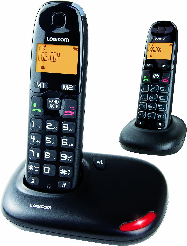 Logicom DUO_GT602N - Teléfono inalámbrico (no ISDN, 3 terminales), color negro (importado): Amazon.es: Electrónica