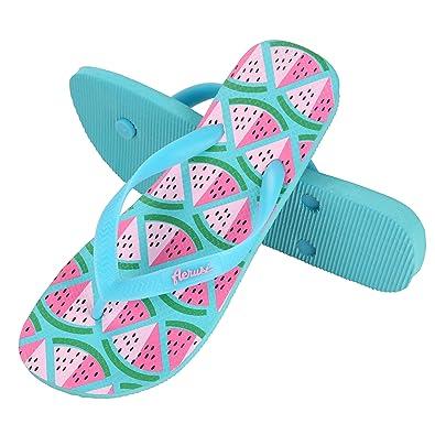 Women's Flip Flops with Ocean Corte Series Watermelon Print Design For Indoor/Outdoor Use