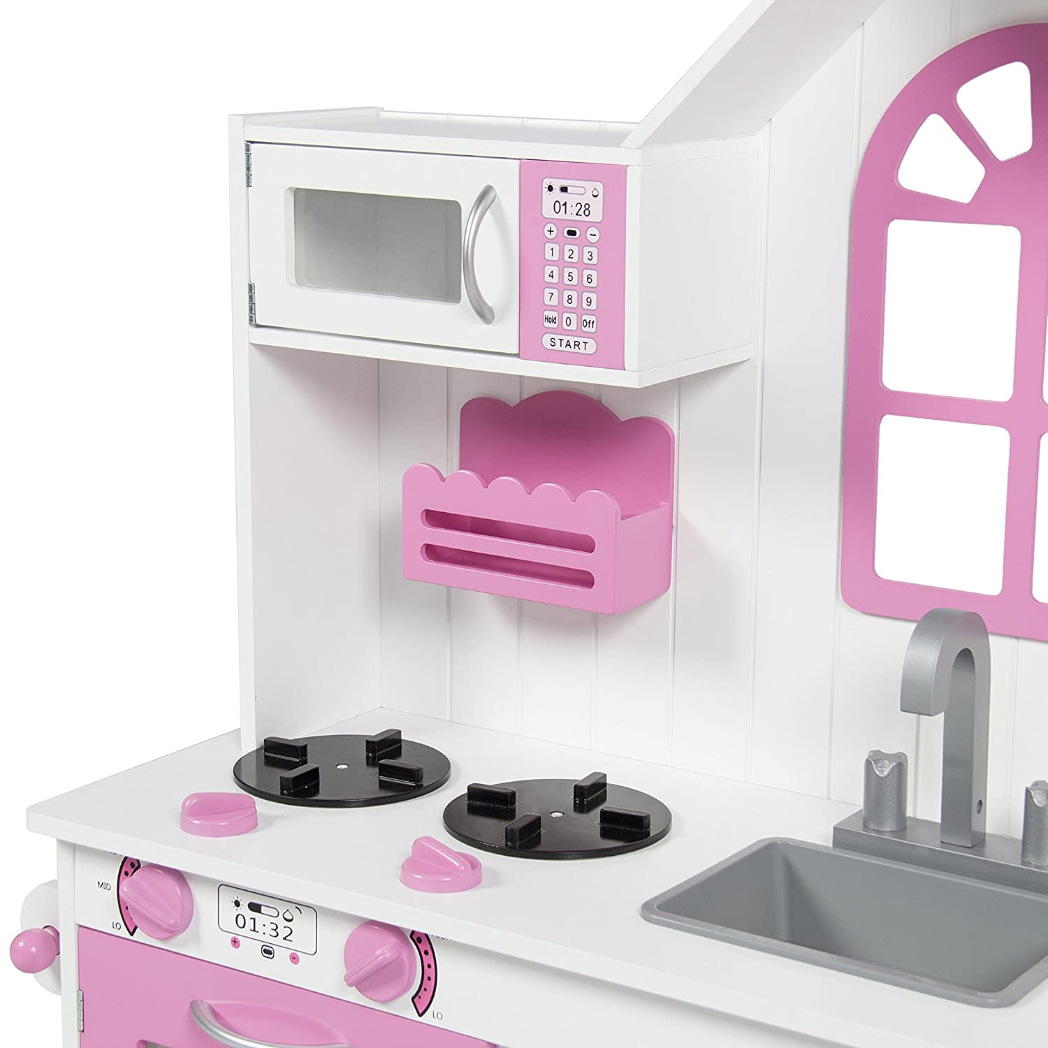 Amazon.com: Best Choice Products Kids Wood Kitchen Toy Toddler ...