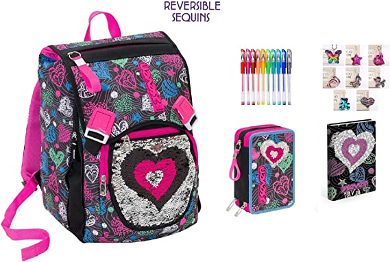 Mochila Escolar Extensible Shineheart con diseño de corazón de Lentejuelas Reversibles + Estuche de 3 Pisos Completo + Diario estándar + Llavero + 10 bolígrafos de Colores + marcapáginas: Amazon.es: Equipaje