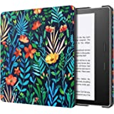 MoKo Case Fits All-New Kindle Oasis (9th and 10th Generation ONLY, 2017 and 2019 Release), Slim Fit Premium PU Leather Protective Cover with Auto Wake/Sleep - Jungle Night