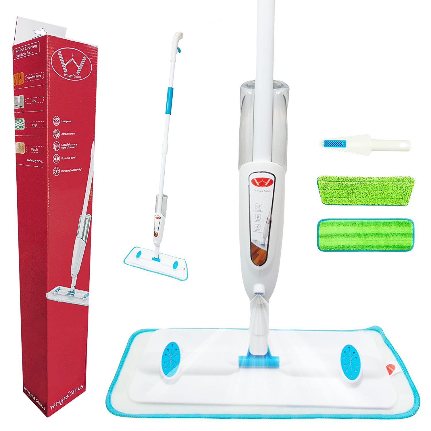 * Latest 4 in 1 Winged Sirius Spray Mop with refillable Bottle. 2 Reusable Microfibre Pads and 1 Multifunctional Dirt Scraper .Patented High Quality Atomised Spray System.360 Degree Swivel Head.Perfect spray mop for hard wood ,laminate ,marble ,vinyl or a