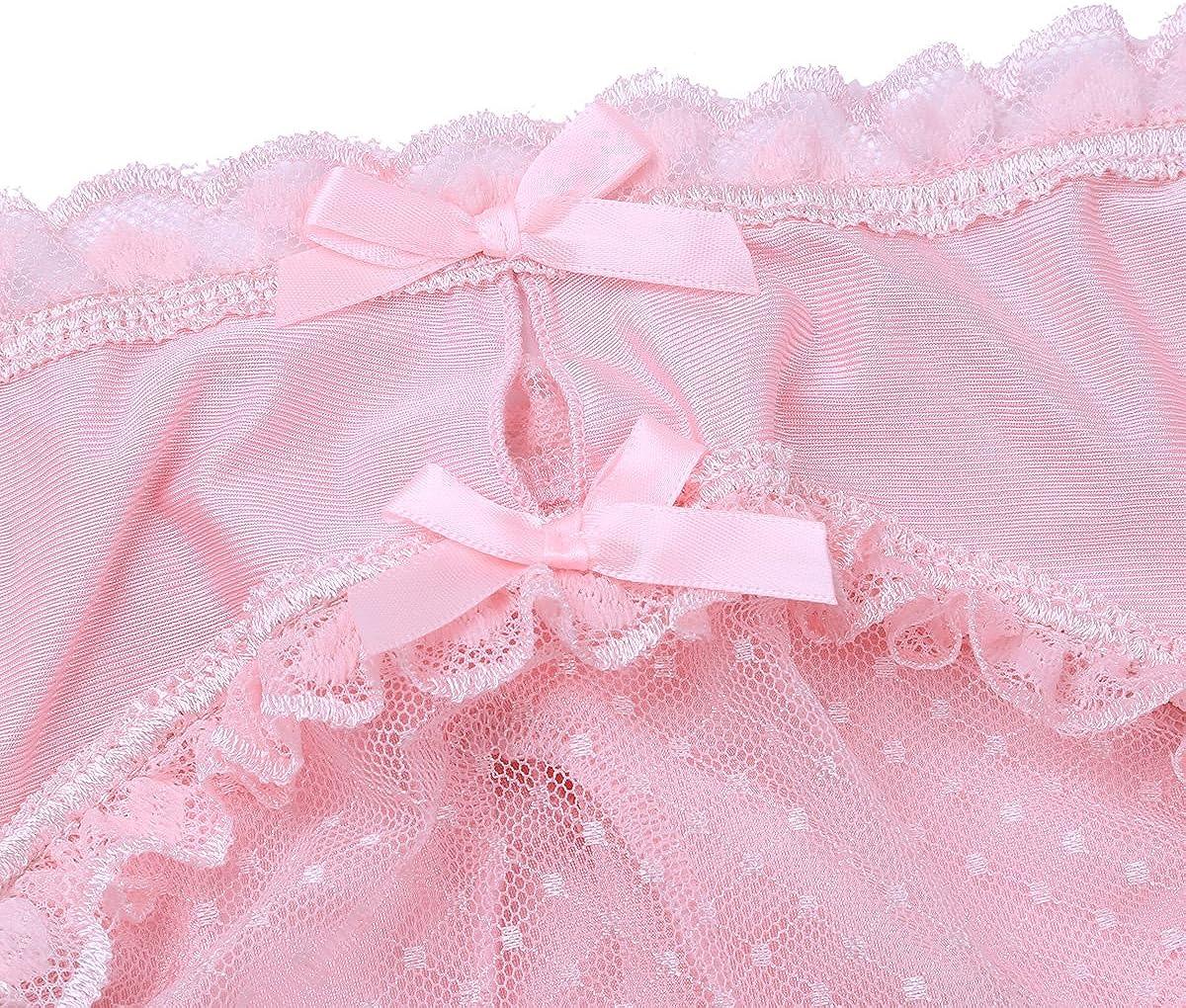 iEFiEL Mens Ruffle Lace Mesh Sissy Bulge Pouch Sheer Back Bikini Briefs Underwear Panties