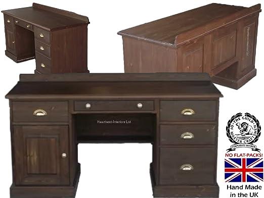 Madera de pino maciza escritorio, doble Pedestal mesa ejecutivo ...