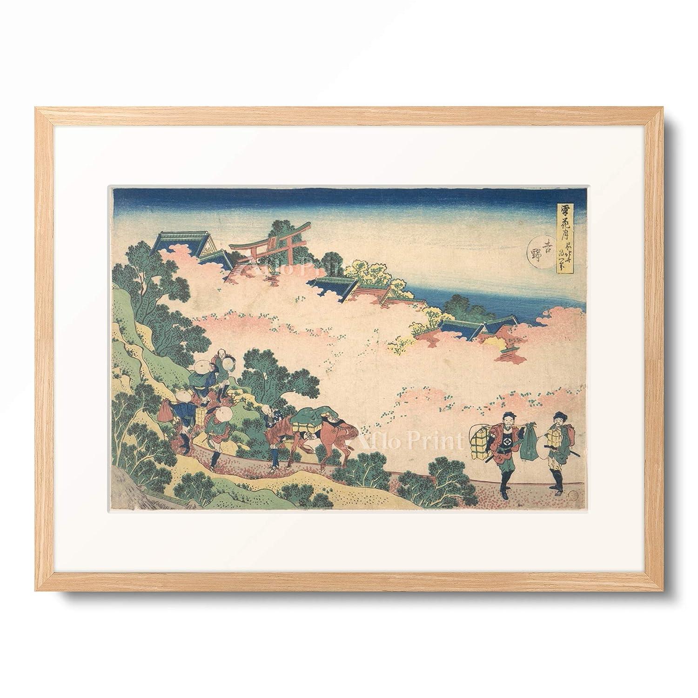 葛飾北斎 Katsushika Hokusai 「雪月花 吉野」 額装アート作品 XL(額内寸 727mm×545mm) 01.木製額 12mm(木地) B07PTX5R4L