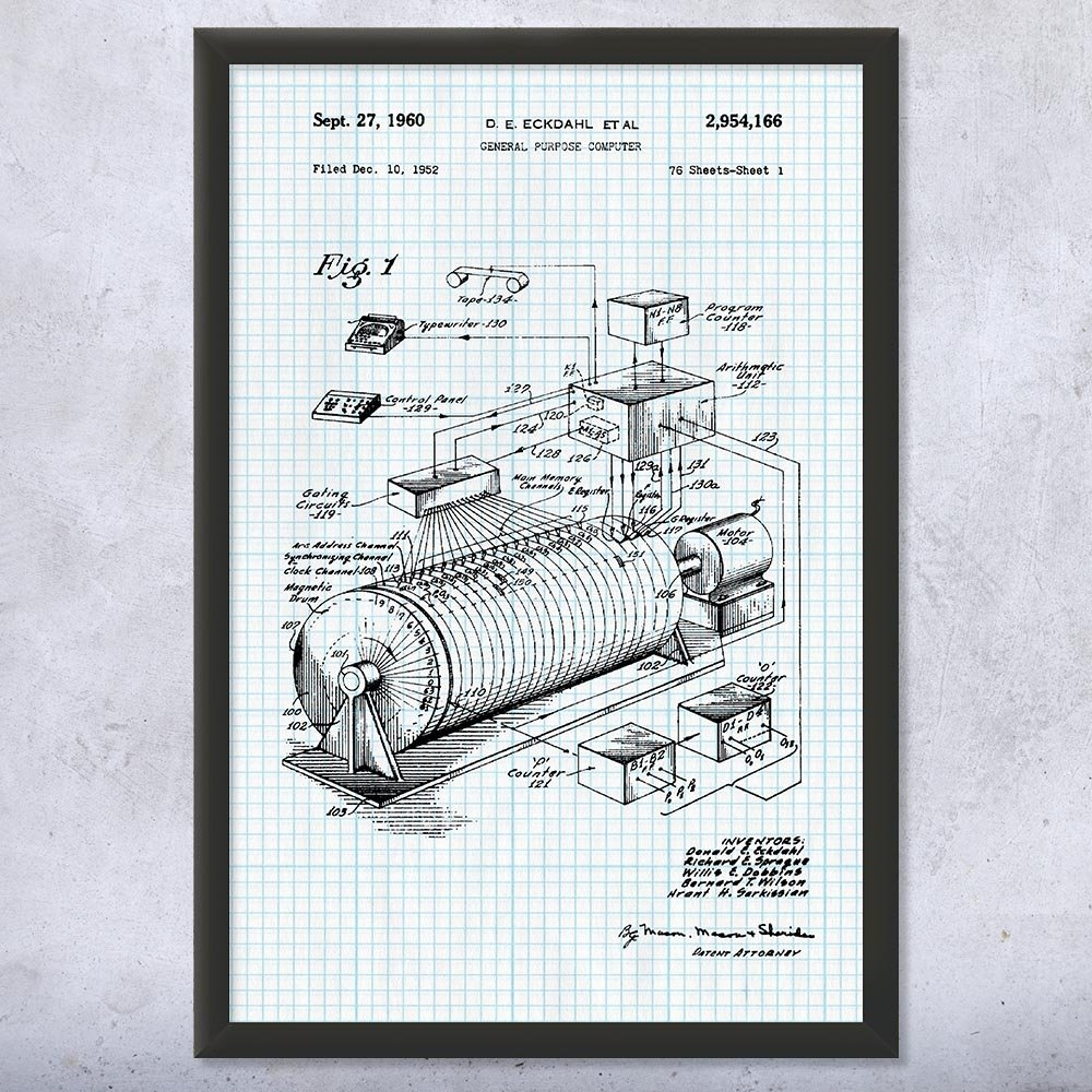 Framed Eckdahl Computer Print, Adding Machine, Engineer Gift, Computer Blueprint, Mechanical Engineer, CPA Accountant Graph Paper (9'' x 12'')