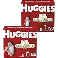 Huggies Little Snugglers Baby Diapers, Size Newborn, 128 Ct & Huggies Little Snugglers Baby Diapers, Size 1, 198 Ct, One…