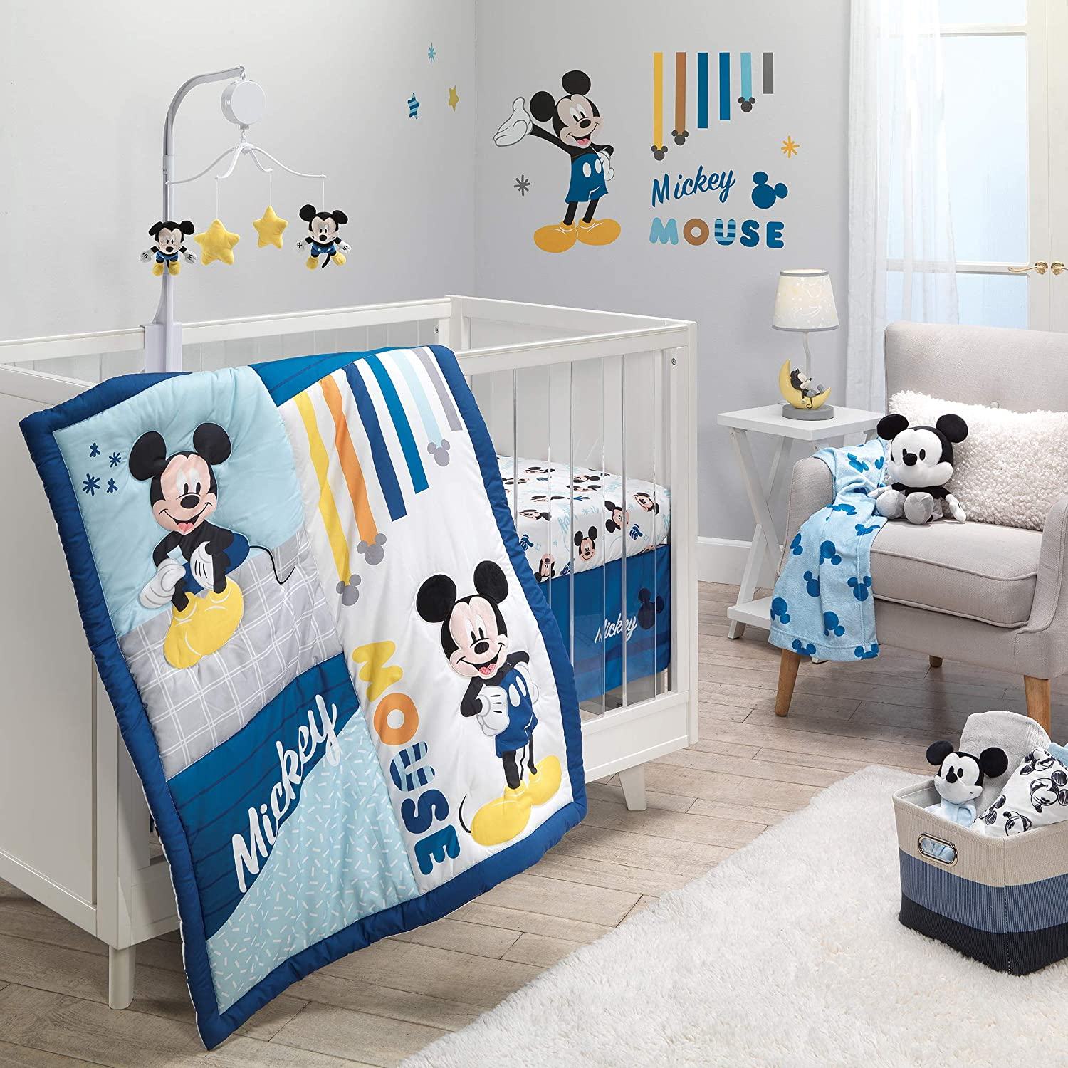 Lambs & Ivy Disney Baby Forever Mickey Mouse 3-Piece Blue Crib Bedding Set