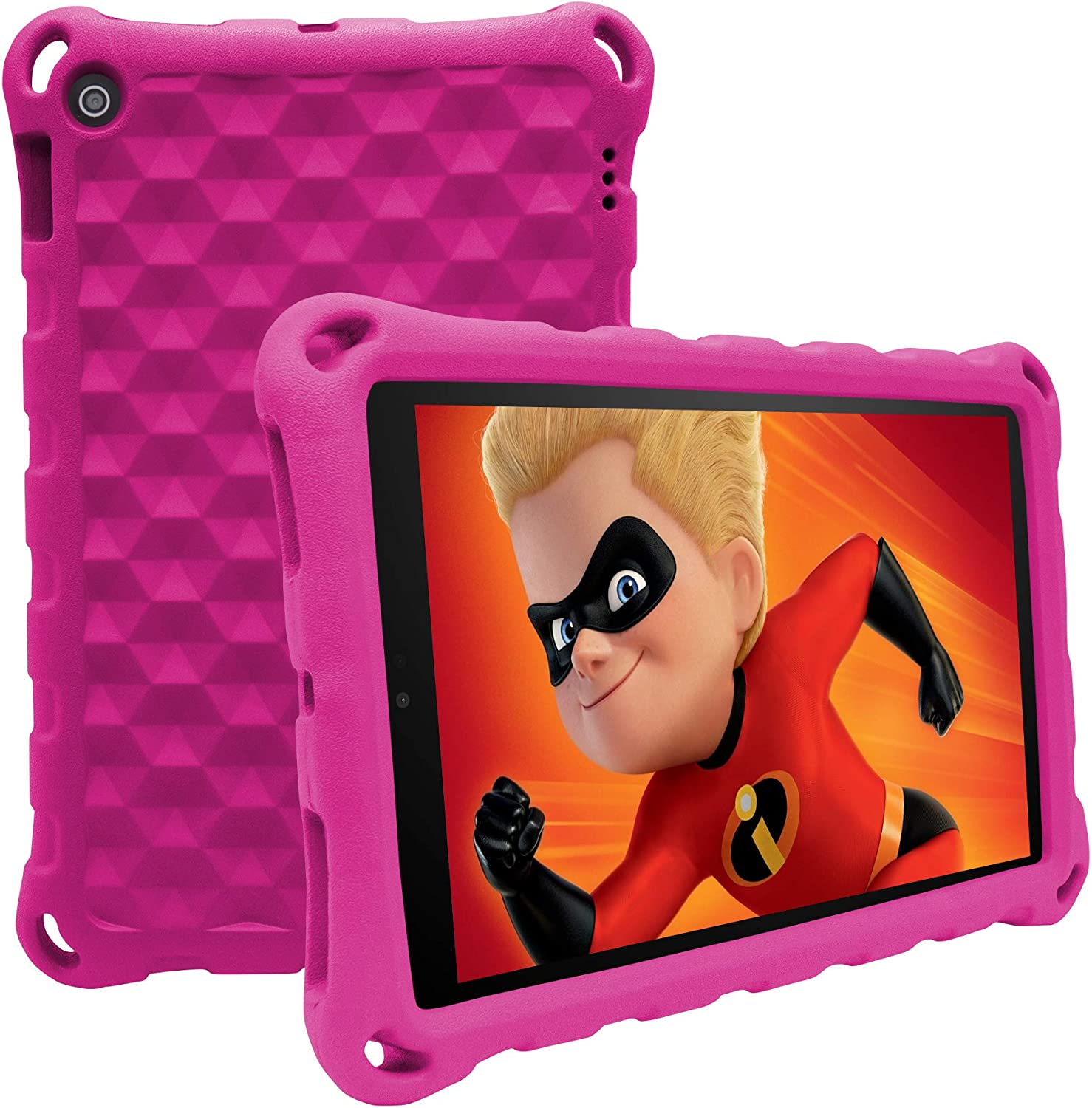 7 Tablet Case for Kids,7 Tablet 2019 Case (Compatible with 9th Generation 2019/7th Generation 2017) -ANTIKE Shockproof Light Weight Handle Kids Friendly Case for 7 Inch Tablet(Rose)