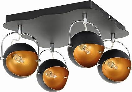 Lampada luce applique faretto kana design moderno metallo nero oro